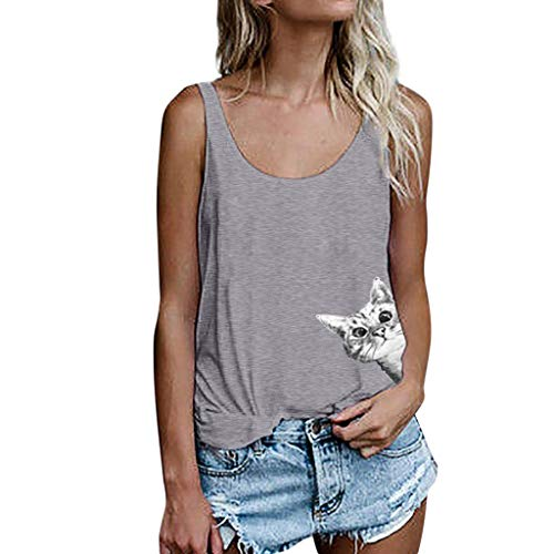 KUDICO Damen T-Shirt Sommer Print Weste ärmellose lose Crop Tops Tank Bluse Freizeithemd Kleidung(Grau 3, EU-44/CN-3XL)