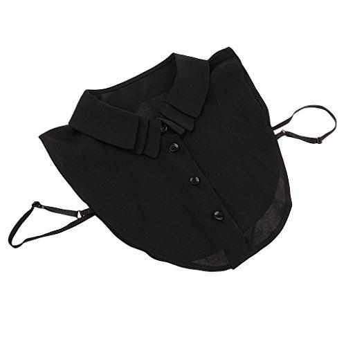 MagiDeal Frauen Kragen Spitze Strass Abnehmbare Hälfte Shirt Bluse Weiß Schwarz Peterpan Kragen Chocker - Schwarz1, wie beschrieben (Peter-pan-kragen T-shirts)