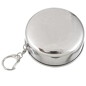 Pieghevole in acciaio INOX Chicsoleil Pocket Water Wine Cup–pieghevole portatile telescopico in metallo Keychain cups for Excursion Outdoor Travel camping picnic hiking Backpacking, WhiteK, 250ml(8.54oz)