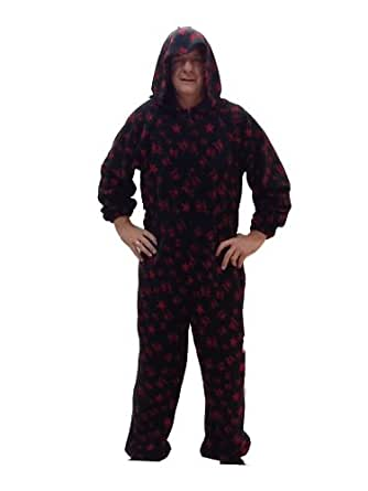 Hand Made Adult Size Onesie - Exclusive To The Rock Collection (Small, Black & Red Skulls & Stars)