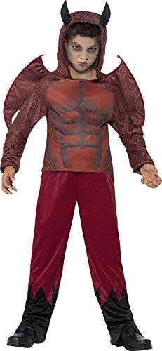 Smiffys, Kinder Jungen Teuflischer Dämon Deluxe Kostüm, Oberteil mit Hörnerkapuze, Hose und Flügel, Größe: S, 44295 (Muskel Arme Kostüm)