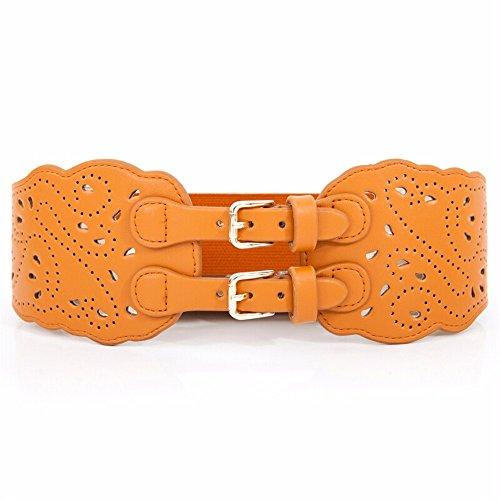 QIER-YD Femminile Inverno Nuovi Prodotti Fibbie Doppie Intagliato Hollow Guarnizione di Tenuta di Larghezza Vita Band Cintura Moda Vita Giallo 70CM