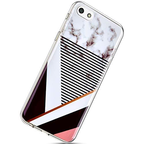 Herbests Kompatibel mit Huawei Y5 2018 Marmor Hülle Silikon TPU Handyhülle Transparente Schutzhülle Durchsichtige Hülle Crystal Clear Ultra Dünn Weiche Bumper Case,Streifen