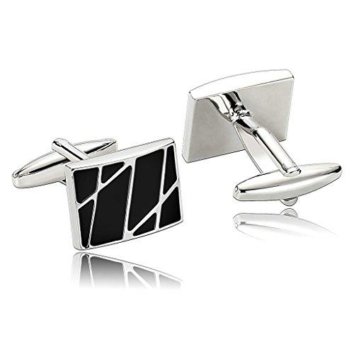 amdxd-jewelry-stainless-steel-men-cufflinks-black-stripe-pattern-rectangular-cuff-links