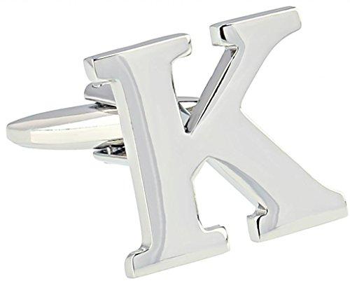 AMDXD Bijoux Plaqué en acier inoxydable Boutons de manchette Chemise pour homme anglais lettres K Argent Boutons de manchettes Collections