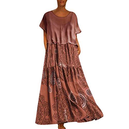 kolila Maxikleid Boho Damen Plus Size Leinen Patchwork Lose Ärmellos/Kurzarm Lässige Sommer Lange Kleider(Orange2,XL) 1 Pack Slim Case