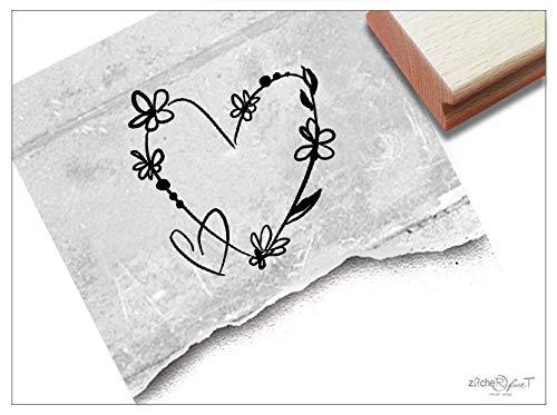 (Stempel - Motivstempel Herz mit Blumen - Bildtempel Geschenk Valentinstag Verlobung Hochzeit Karten Basteln Design Deko - von zAcheR-fineT (Klein ca. 27 x 28 mm))