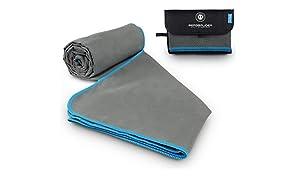 BERGBRUDER Microfaser Handtücher - Viele Größen und Farben - Ultraleicht, kompakt & schnelltrocknend - Mikrofaser Handtuch, Reisehandtuch, Sporthandtuch, Badetuch Set mit Tasche