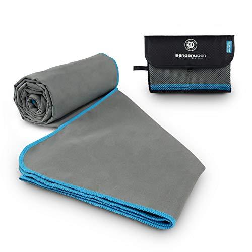 BERGBRUDER Mikrofaser Handtücher Original Reisehandtuch - (Grau-Blau, M 120x60 cm)
