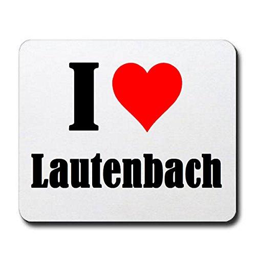 """Gaming Mauspad \""""I Love Lautenbach\"""" in Weiss, eine tolle Geschenkidee die von Herzen kommt  Rutschfestes Mousepad   Geschenktipp: Weihnachten Jahrestag Geburtstag Lieblingsmensch"""