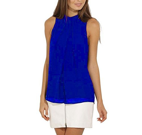 ASCHOEN Damen Shirt Ärmellos Oberteil Elegant Tank Tops T-Shirt Casual Bluse Chiffon Blau