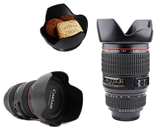 Camera Lens Plastic Coffee Mug with Lid, 350ml, Black