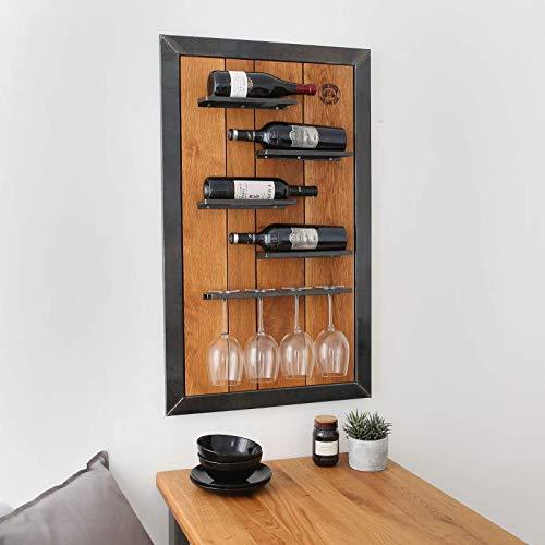 Original BestLoft® Weinregal Wein Eiche Wandregal Louis Martel Flaschenregal Weinschrank Glas (Maße: Breite 60cm x Höhe 100xm x Tiefe 10cm) - Tiefe Halter
