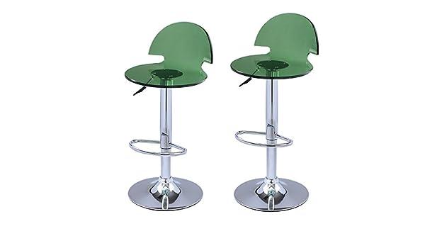 Adeco in acrilico verde idraulica lift sgabello di bar sedia