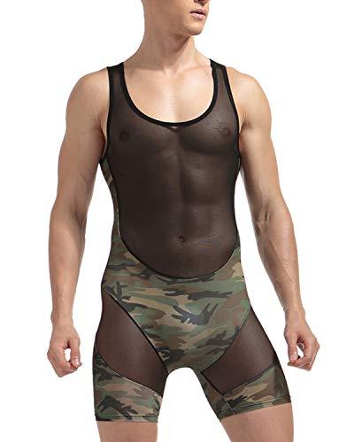 DULEE Männer Sexy Transparent Camouflage Wetlook Body Stretch Bulge Pouch Wrestling Singlet Unterwäsche, XL