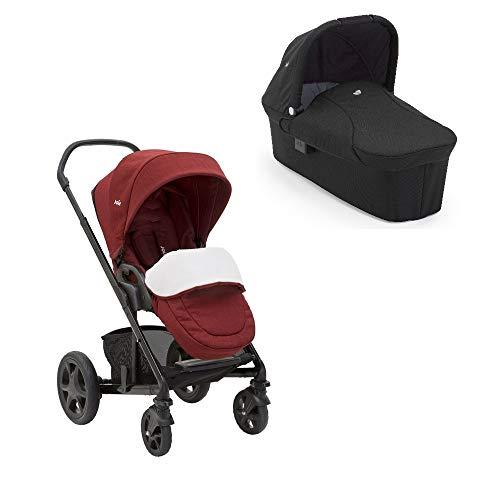 Joie Chrome Kombikinderwagen 2in1 Set Inklusive Babywanne (Cranberry)