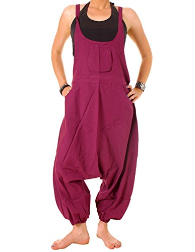 Vishes – Alternative Bekleidung – Baumwoll Latzhose Haremshose Overall bordeaux 42 bis 44