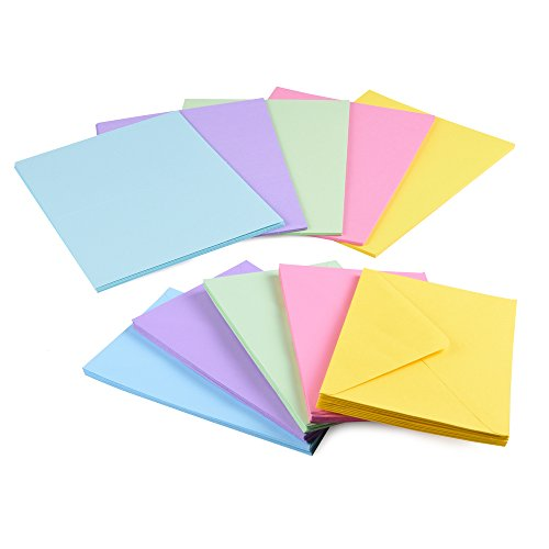 Sparset 50 x Faltkarten DIN B6 blanko farbig gemischt + 50 x Umschläge - 4