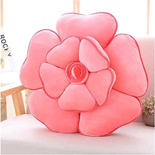 ahzha Down Rose Flower Kissen Kissen, Plüschtiere Weiche Gefüllte Auto Kissen, Liebhaber Kinder Geschenke, 55Cm (Pink)