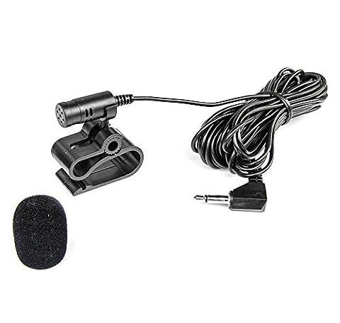 Mikrofon 3,5mm Klinke + Windschutz für ALPINE, CLARION, JVC, KENWOOD, PIONEER, SONY /MIC-3S1