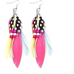 Pendientes plumas,pluma de ave cuero, perla, rosa, rojo, amarillo, fucsia, verde