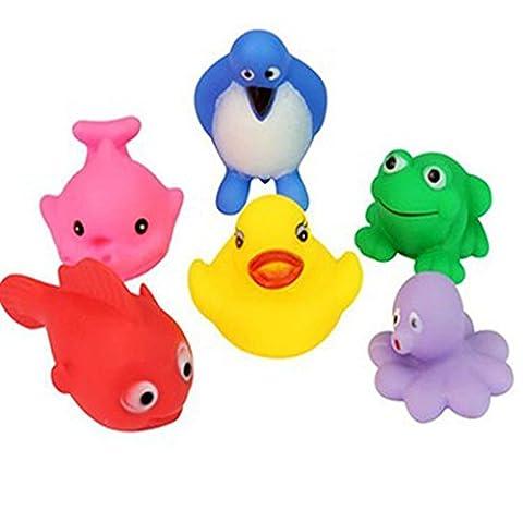 cooplay 6Mix Stil Baby Badespielzeug quietschende Ente Floating Frosch Pinguin Fisch Set Kit