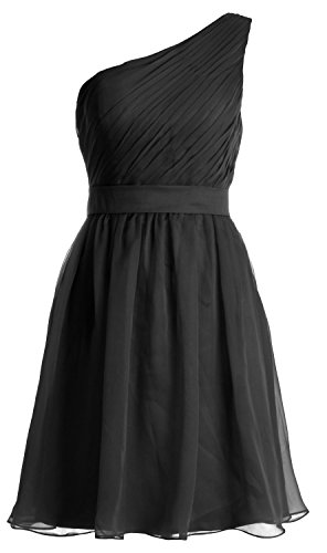 MACloth Women One Shoulder Chiffon Short Bridesmaid Dress Cocktail Formal Gown Schwarz