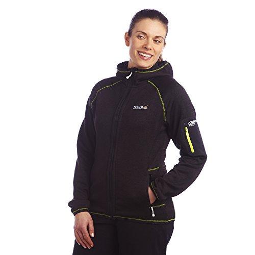 Regatta Winterlove black Damen Fleecejacke mit Strickeffekt schwarz Limette
