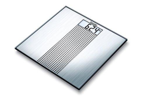 Beurer GS 36 Glaswaage | Extra dünne Personenwaage in Edelstahl-Optik für moderne Akzente in Ihrem Badezimmer -