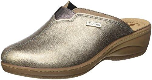 INBLU Lory, Pantofole Aperte sulla Caviglia Donna Oro (Platino)