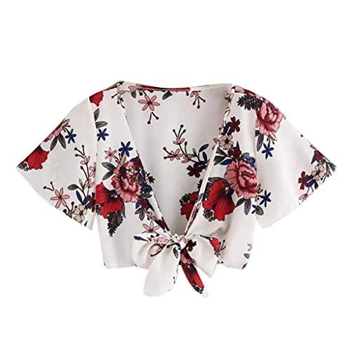 TWIFER Sommer Damen Gedruckt T Shirt Kurzarm Tee Bandage Hohlhemd Pullover Tops