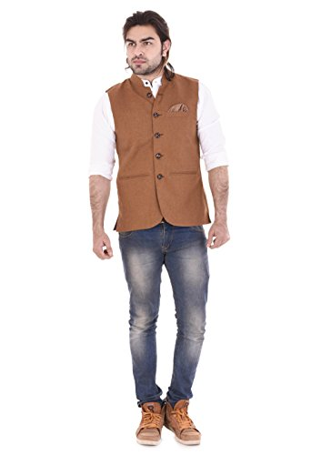 RIYA FASHION Men's Bandhgala Festive Vest Waist Coat Nehru Jacket Achkan (...