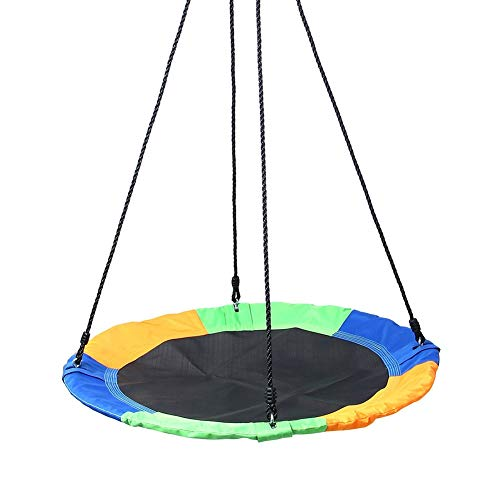 Nestschaukel YXX Runde Saucer Tree Swing für Kinder - einstellbares Swing-Plattformseil, maximale Kapazität 150kg, Stahlrahmen 900D Oxford-Stoffbezug