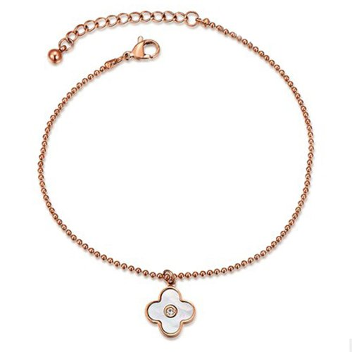 PlusMinus Women's Simple A Rhinestone Lucky Grass Shell Clover Anklets Rose Gold