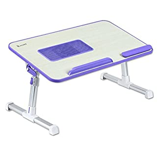 Hickies Bed Tray Cooling Fan Table Laptop Support Prop Desk Camping Tea Table (Purple)