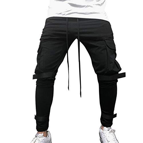 Elecenty Pantaloni uomo elegante Tuta da uomo tinta unita Pantaloni casual da lavoro taschino sportivo