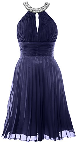 MACloth Women Halter Crystal Chiffon Short Evening Dress Cocktail Formal Gown Dunkelmarine