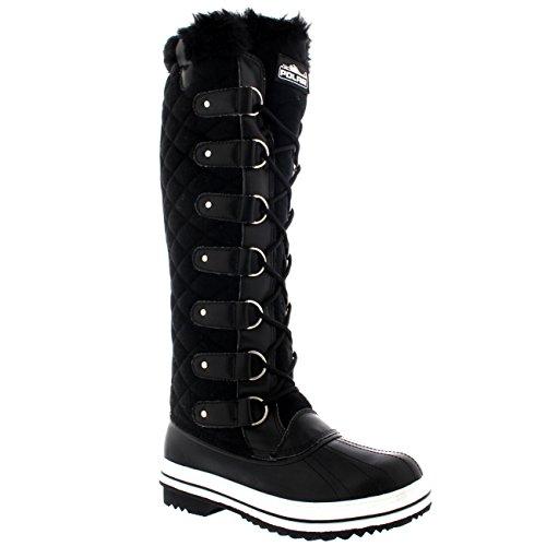 Damen Quilted Knie Hoch Ente Pelz Gefüttert Regen Schnüren Dreck Schnee Winter Stiefel Schwarz Textil