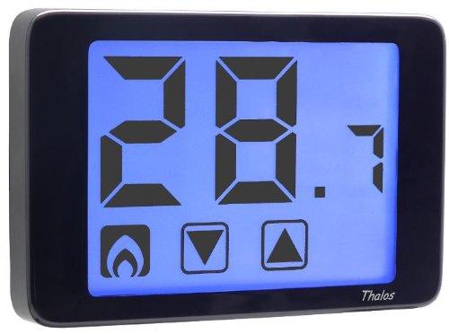 Vemer Raumthermostat VE433900 THALOS schwarz mit grossflächigem hintergrundbeleuchteten LCD-Touchscreen-Display Temperaturregelung bei Heizen und Kühlen Batterie-Betrieb
