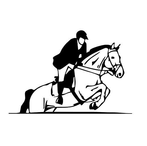 Pferd Springen Zeigen Reiter Jockey Sport Silhouette Wandaufkleber Wohnzimmer Kunst Schablone Vinyl Abnehmbare Wandtattoos Wohnkultur 59x40 cm