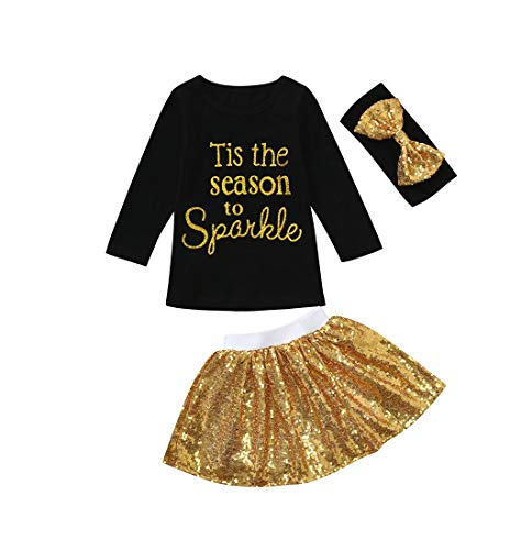 Mädchen Kleid Mädchen Sommer T-Shirt Kleid 3 Stücke Baby Mädchen Kinder Brief Pailletten Tops + + Rock + Stirnband Kleidung Set Outfits HEVÜY