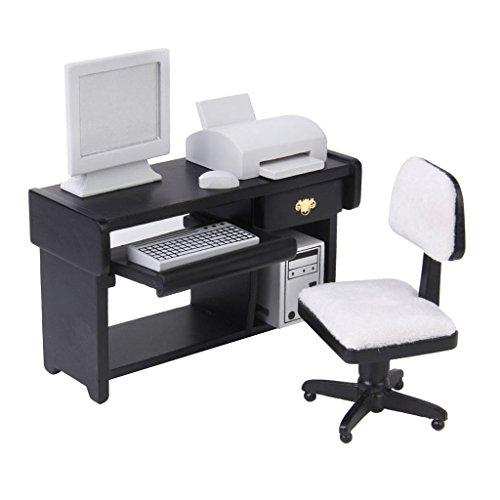 P Prettyia 1/12 Puppenhaus Büro Möbel Set, 6-teilig ( Schreibtisch, Stuhl, Monitor, Tastatur und Drucker )
