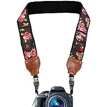 USA Gear Tracolla Fotocamera Digitale in Neoprene con Tasche Porta Accessori Bagagli e Comoda Imbottitura - Funziona con Canon EOS , Nikon , Sony , Fujifilm e Altri - Fiorito