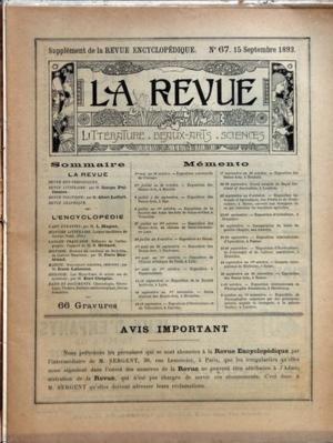 REVUE ENCYCLOPEDIQUE N? 67 du 15-09-1893 GEORGE SAND - REVUE LITTERAIRE PAR PELLISSIER - REVUE POLITIQUE PAR LEFORT - ART BYZANTIN PAR MAGNE - L'ORTHOGRAPHE PAR GREARD - HISTOIRE DU CARDINAL DE RICHELIEU DE G. HANOTAUX PAR BERTRAND - MARINE PAR LALANNE - BILOGIE PAR COUPIN - 66 GRAVURES - LA MECQUE DES MAURES - KABYLE DU RIFF - JUIF DE FE par Collectif