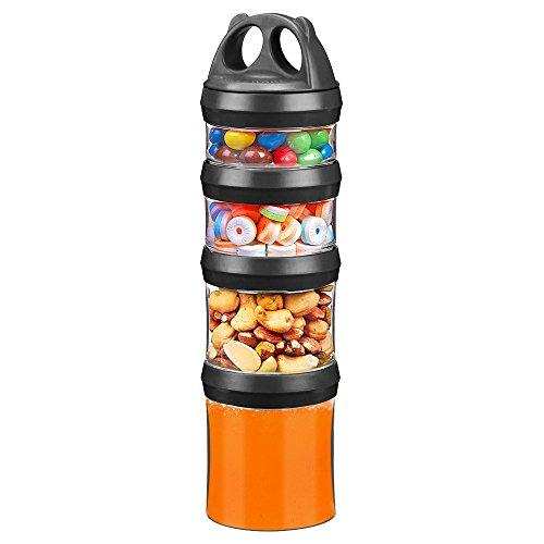 Besthouse Vorratsdosen, Block Kanister 4er Set, Frischhaltedose, Aufbewahrungsbehälter, Aufbewahrung Dosen, Speicherung Milch, Protein Pulver, Snacks, Reiseartikel, BPA Frei (Schwarz, 910ML)