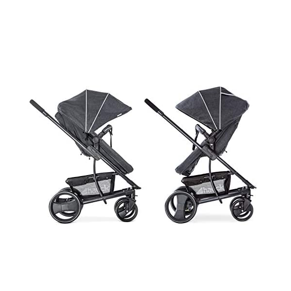 Hauck Pacific 4 Shop N Drive, Lightweight Pushchair Set with Group 0 Car Seat, Carrycot Convertible to Reversible Seat, Footmuff, Large Wheels, From Birth to 25 kg, Melange Charcoal Hauck  4