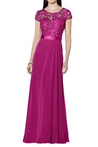 Promgirl House Damen Elegant Spitze A-Linie Abendkleider Brautmutter Ballkleider Lang mit Aermel Fuchsie