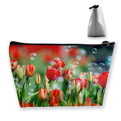 Nature Flowers Bubbles Tulips Red Flowers Multi-Functional Trapezoidal Storage Bag Toiletry Bag Zipper Receive Bag Zip-tulip