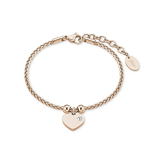 s.Oliver Damen-Armband 17+3 cm Herz Zopfmuster Edelstahl Kristall weiß 20 cm 2015045