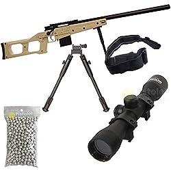 Pack complet Airsoft S.A.S 08 Couleur Sable Sniper Style VSS/Sniper à Ressort/métal-ABS/Rechargement Manuel (0.5 Joule)-Livré avec Accessoires